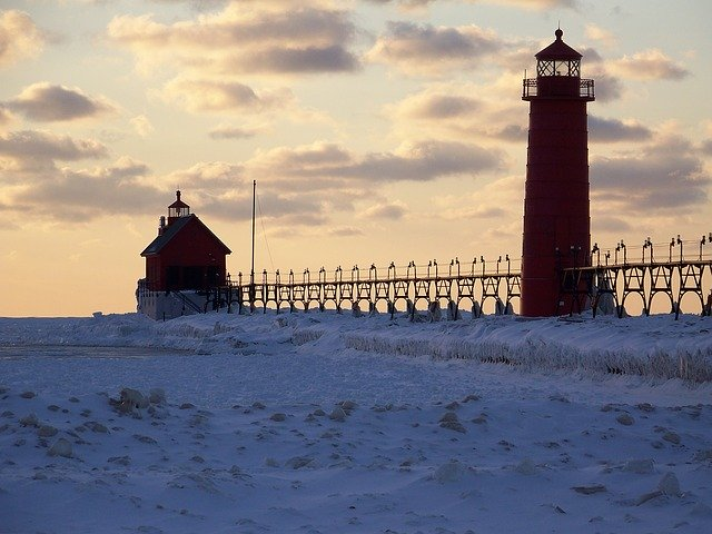 Grand Haven pier in winter